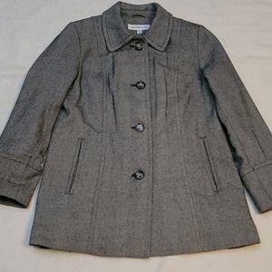 Liz Claiborne herringbone lined parka jacket wool